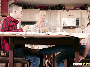 Hot big-busted aunt Ariella Ferrera seduces her young cousin in the kitchen