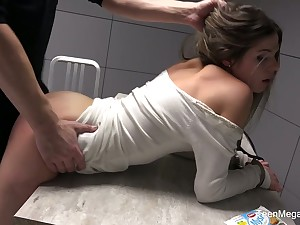 Instigation room is filled down moans of lusty Sarah Smith riding cop's cock