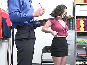 Curly brunette with juicy booty Lyra Lockhart gets punished be proper of shoplifting