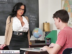 Mega busty teacher Sheridan Love is eager for chunky dick of sophomore student