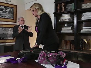 Buxom blond milf Stormy Daniels is cheating on her husband with his own lady